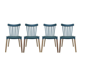 4 x Contemporary Tiffany Style Teal and Wood Dining Chair