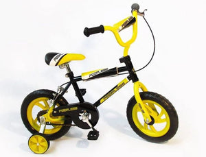 "Peerless 12"" Kids Bike with Training Wheels - Black & Yellow"