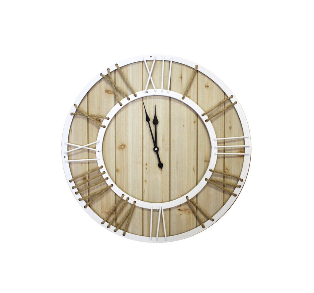 Large Nautical Wooden Roman Numerals Rope Clock
