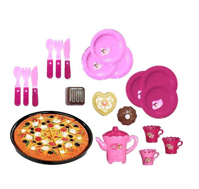 Little Chef Kids Pretend Play Kitchen Tea and Pizza Set