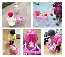 Load image into Gallery viewer, Baby Doll Folding Stroller Pushchair Kids Pram - Purple and Pink