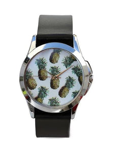 Just for Me Black Strap Analog Picture Watch - Fresh Pineapple Multicoloured