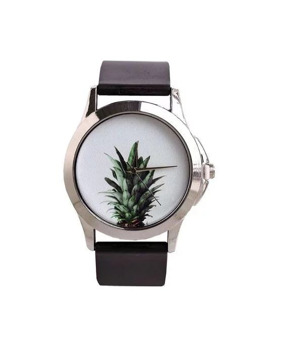 Just for Me Black Strap Analog Picture Watch - Fresh Pineapple White