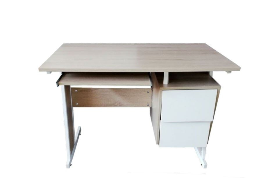 Contemporary Single Office Desk with 2 Side Drawers