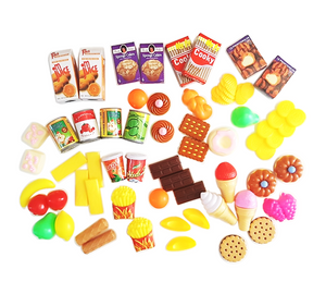 Funny Food Kitchen Items for Pretend Play - 60 Pieces