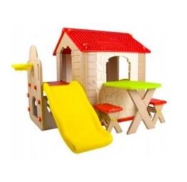 Funpark Kids Playhouse with slide and picnic table - Red and Beige