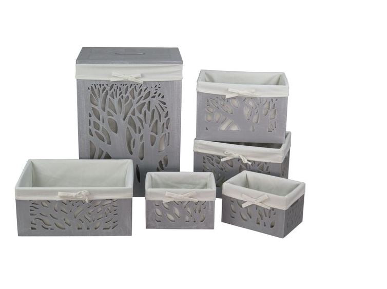 Grey Tree Baskets Set of 6