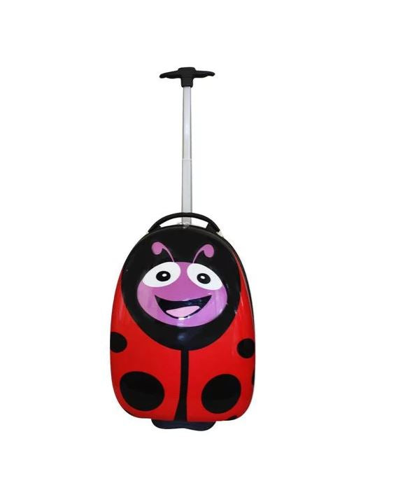 Holiday Travel Kids Luggage Trolley Suitcase - Ladybird
