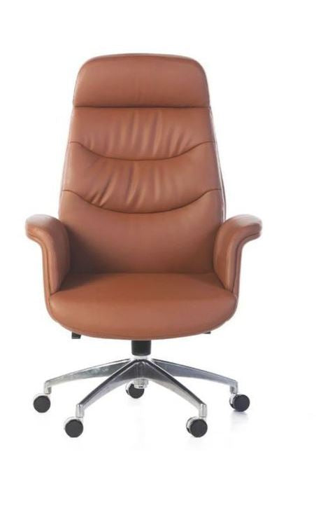 Luxury Tan Faux Leather Executive Office Chair