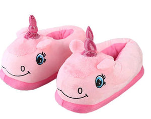 Magical Plush White Unicorn Slippers Medium Fit sizes 4 to 5