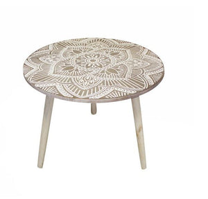 Mandala Memories Round Wooden Sand Side Table