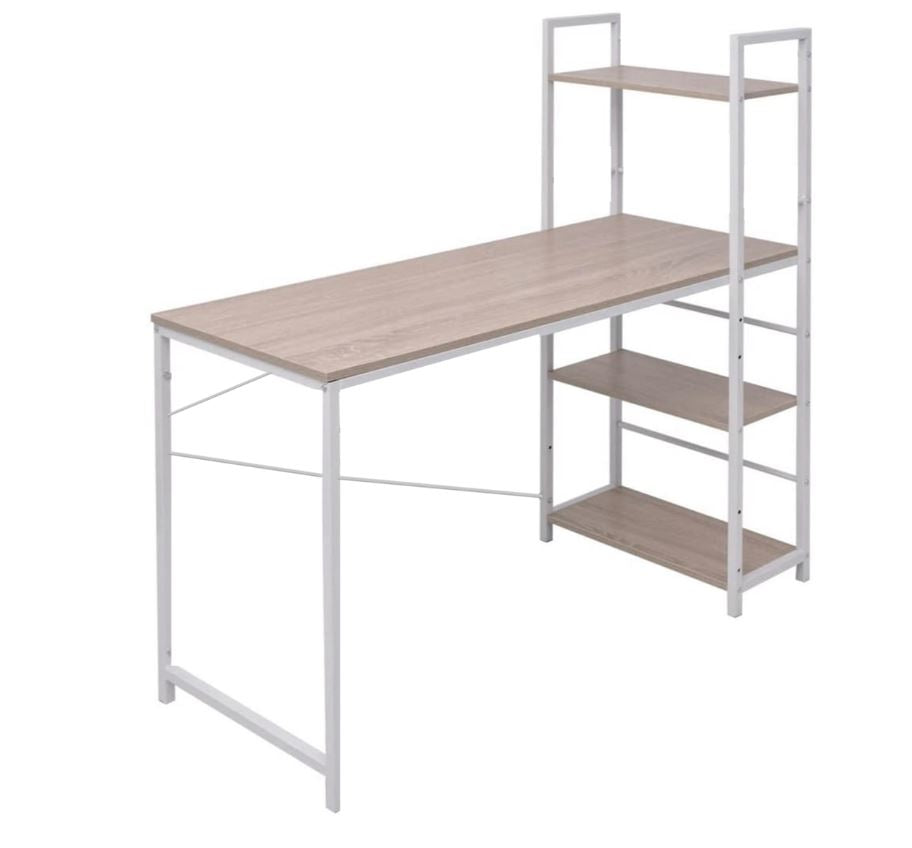 Multi-Level Steel Wood Computer Workstation Desk with Shelves