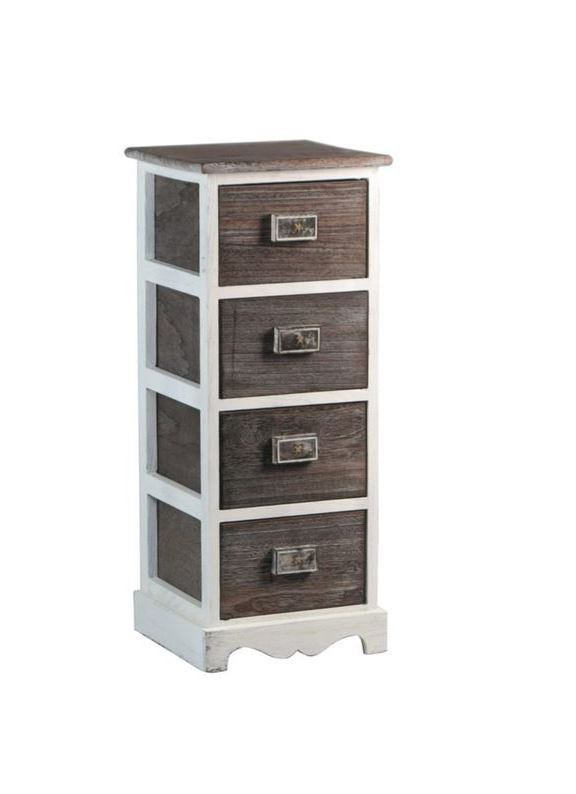 Rustic Charm Wooden Cabinet with Four Drawers