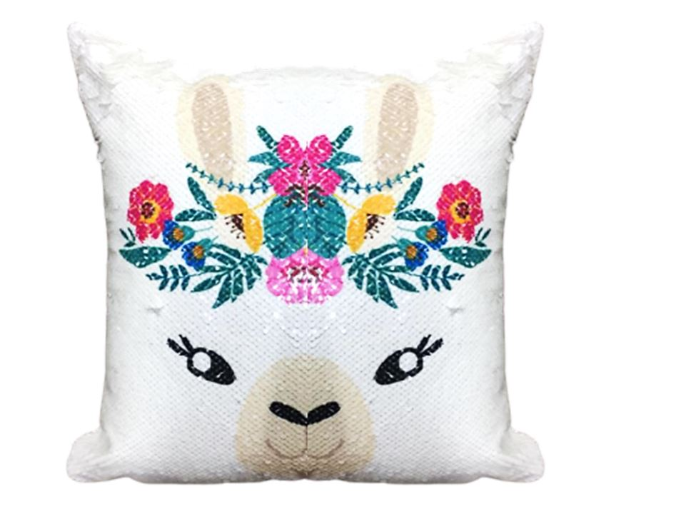 Wish Bunny Dreams Sequined Kids Cushion Throw Pillow