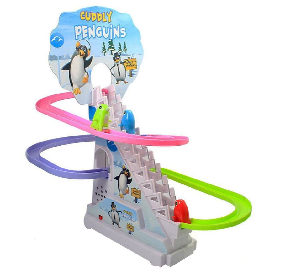 Wish Cuddly Penguins Musical Track Descent Penguin Cart Game