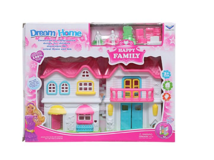 Wish Happy Family Dream Home  Mini 20cm Dollhouse for Kids with Accessories