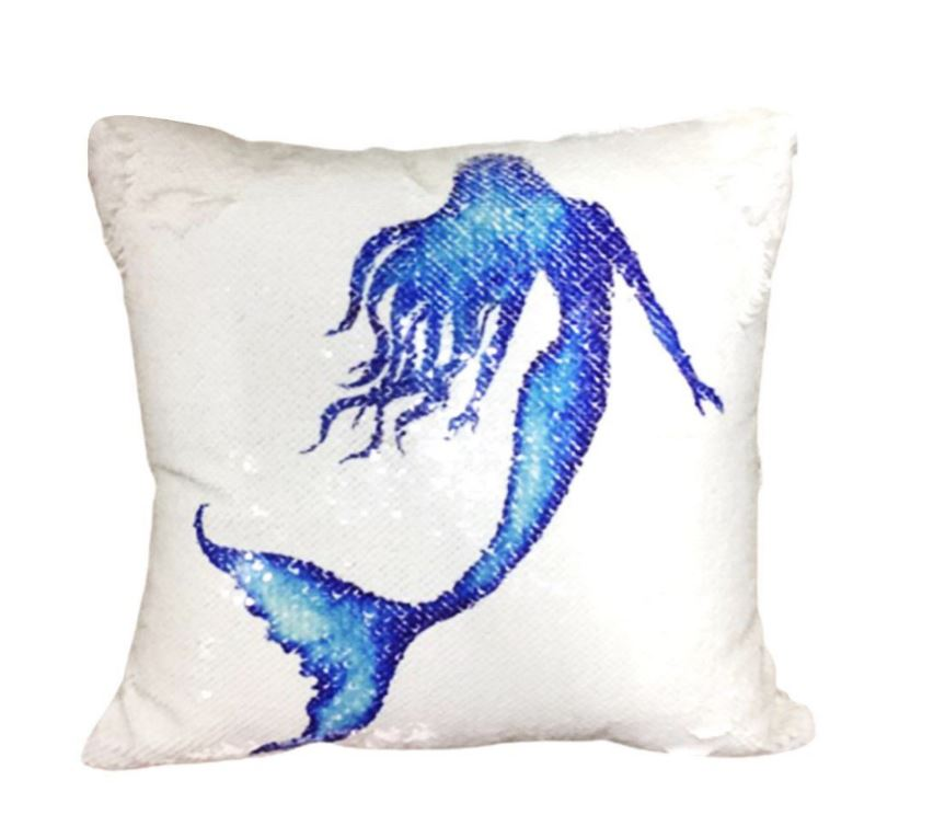 Wish Mermaid Sequined Cushion Throw Pillow