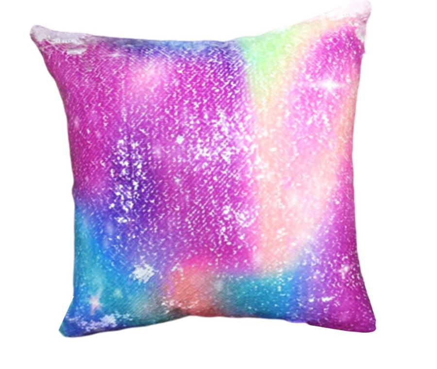 Wish Pink Sky Sequined Cushion Throw Pillow
