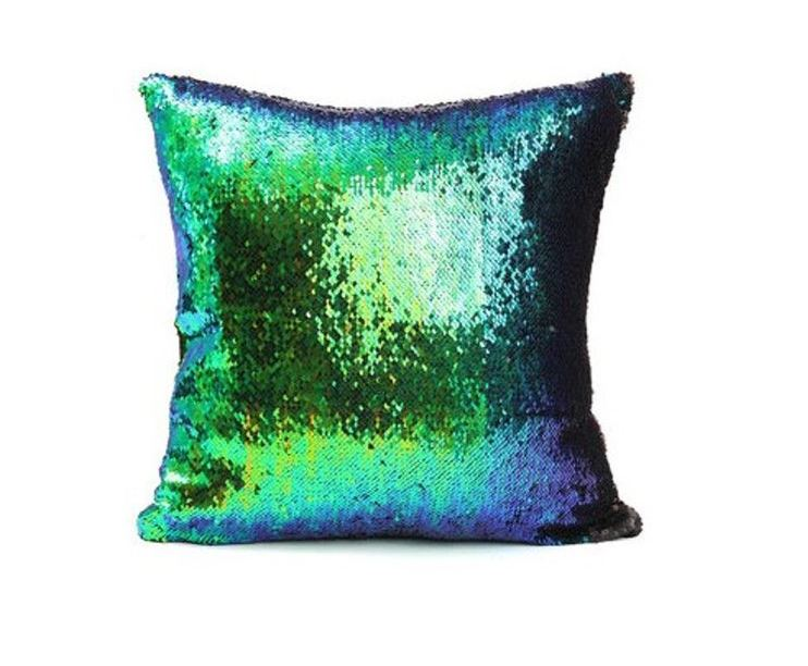 Wish Reversible Peacock Sequined Colour Changing Cushion Throw Pillow