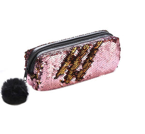 Wish Sparkly Magic Sequined Light Pink Pencil Case or Cosmetic Bag Pouch