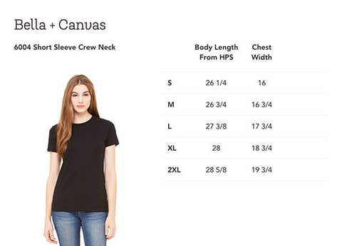 Size chart for Bella canvas t-shirt lasied favorite tee 6004