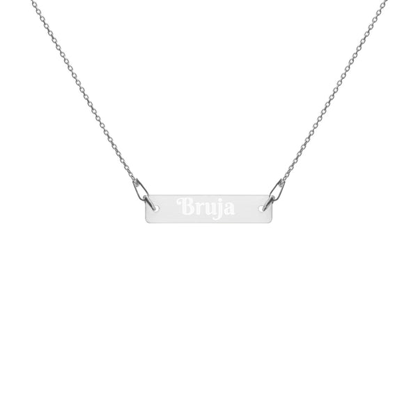 Bruja Engraved 925 Silver Bar Chain Necklace