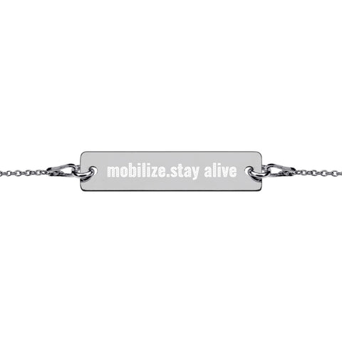 Mobilize Stay Alive Engraved  Bar Chain Bracelet - Orphan Riot Designs
