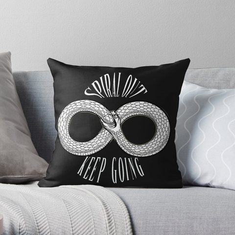 Spiral Out Keep Going Throw Pillow - Orphan Riot Designs