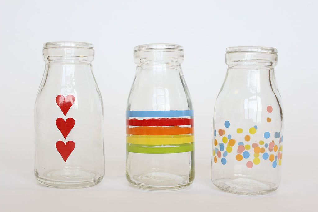 Glass Painted Milk Bottles