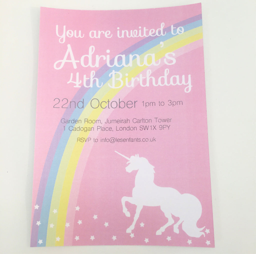 Personalised Unicorn Invitation - Pk 10