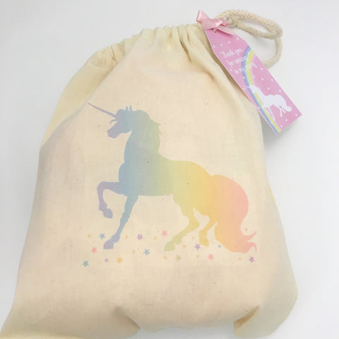 Unicorn Canvas Drawstring Party Bag