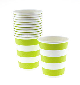 Lime Striped Cups - pk 12
