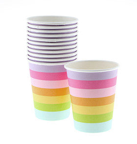 Rainbow Striped Cups - pk 12