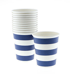 Navy Striped Cups - pk 12
