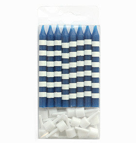 Navy Striped Candles