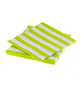 Lime Striped Napkins - pk 20