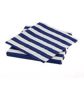 Navy Striped Napkins - pk 20