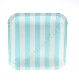 Blue Striped Plates - pk 12