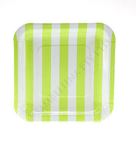 Lime Striped Plates - pk 12