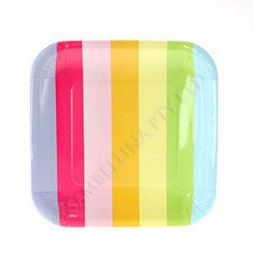 Rainbow Striped Plates - pk 12