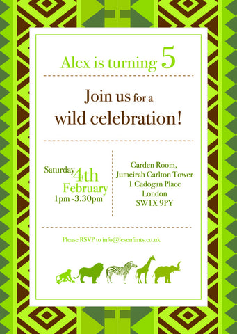 Personalised Safari Invitation - Pk 10
