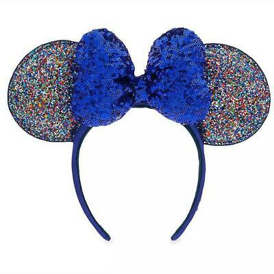 Disney Parks 2020 New Year Glitter Minnie Ears Headband with Blue Sequin Bow