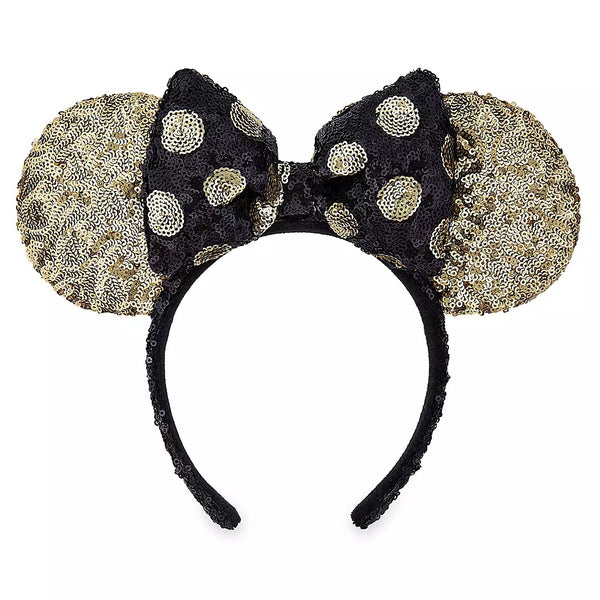 Minnie Mouse Sequined Ear Headband with Bow – Black and Gold