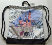 Ink and Paint Castle Drawstring Cinch Sack no