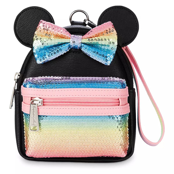 Loungefly Minnie Mouse Sequined Wristlet Pastel Rainbow