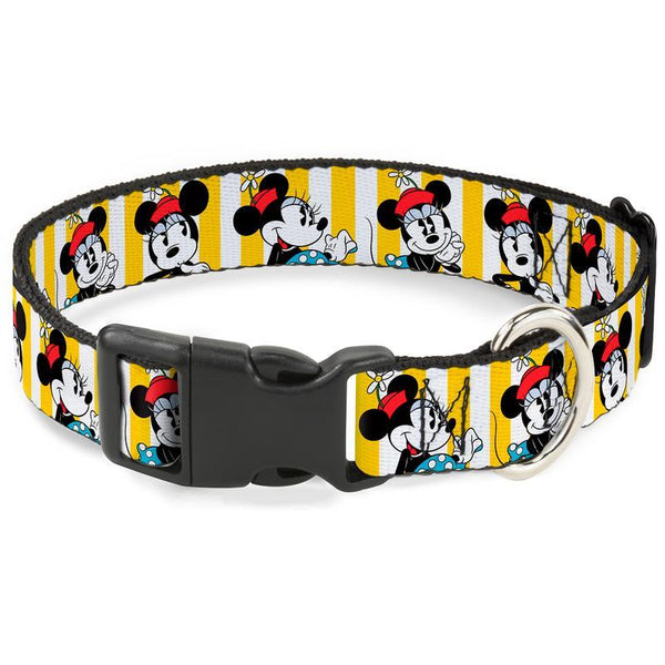 Buckle-Down Minnie Mouse Yellow Stripe Plastic Clip Collar