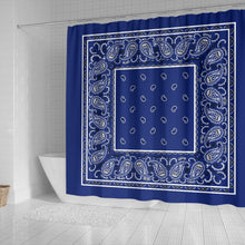 Load image into Gallery viewer, Blue Hankie Shower Curtain