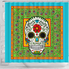 Load image into Gallery viewer, Sugar Skull Shower Curtain