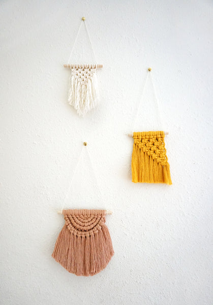 VIRTUAL WORKSHOP 6/26 Mini Macrame Trio Wall Hangings