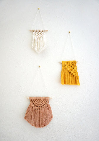 1 SPOT LEFT - VIRTUAL WORKSHOP 2/21 Mini Macrame Trio Wall Hangings